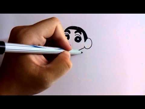วาดการ์ตูนกันเถอะ สอนวาดการ์ตูน ชินจังจอมแก่น ง่ายๆ หัดวาดตามได้