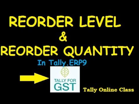 Reorder Level & Reorder status in Tally.ERP9