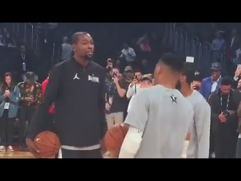 Kevin Durant and Russell Westbrook Laugh with Each While Warming Up Before 2018 NBA All-Star Game