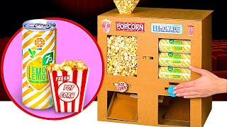 2 AWESOME DIY CRAFTS FOR A MOVIE NIGHT | Cool Cardboard Machines With Popcorn And Soda