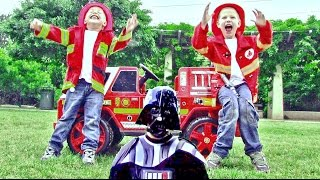 Video Little Heroes 3 - Firemen with their Fire Engine Teaching Darth Vader a Few Lessons download MP3, 3GP, MP4, WEBM, AVI, FLV Agustus 2017