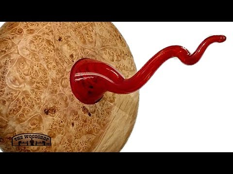 Woodturning Maple Burl and Hand Blown Glass Piece