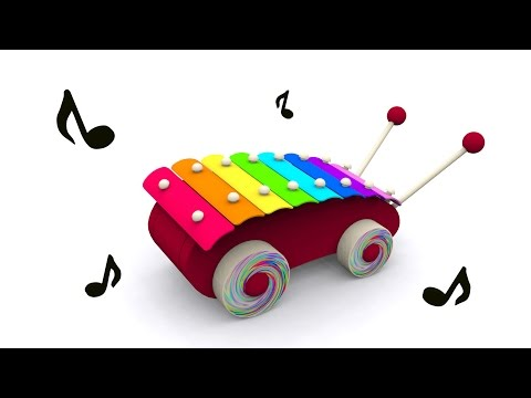 Cartoons for babies. Baby toys: xylophone. Learn and sing musical notes in English