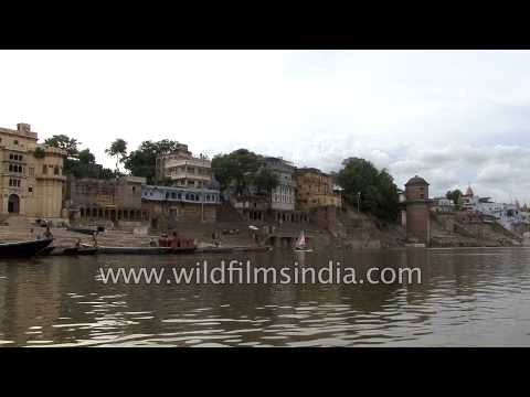 Rowing on the waters of holy river Ganges in Varanasi