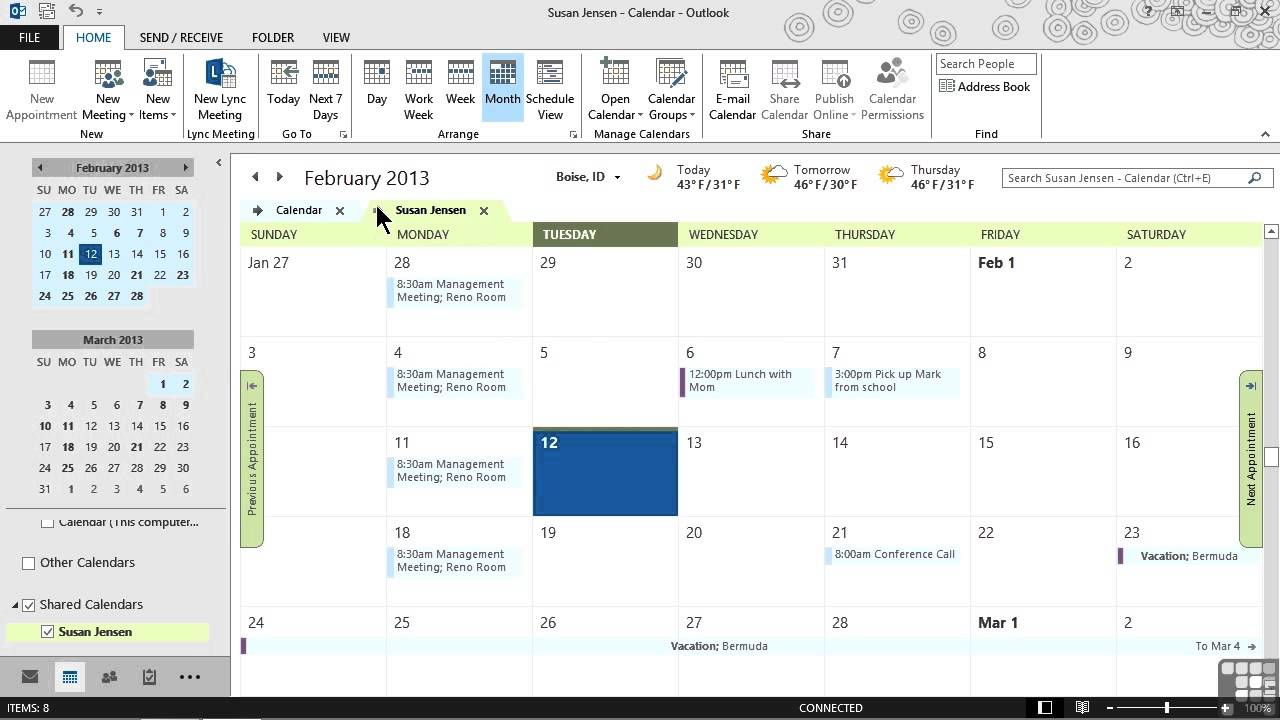 calendars in microsoft office
