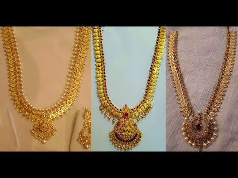 Latest 22k Joy Alukkas Gold Long Haram Designs