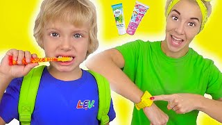Put on your shoes Time for School - Morning routine   Children's songs from Lev family Show