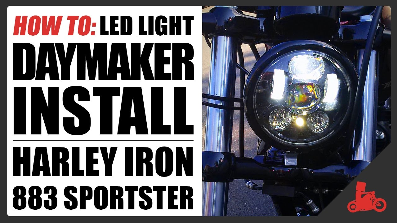 how to daymaker led style headlight install harley sportster [ 1280 x 720 Pixel ]