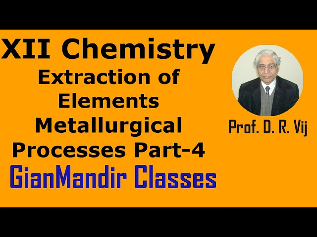 XII Chemistry | Extraction of Elements | Metallurgical Processes Part-4 by Gaurav Sir