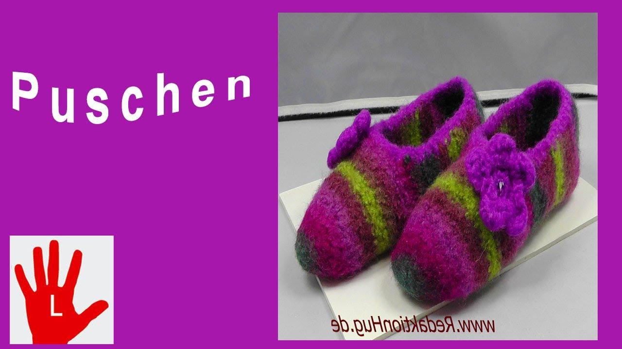 Häkeln - Linkshänder - Puschen - Pantoffeln - Filzen - YouTube