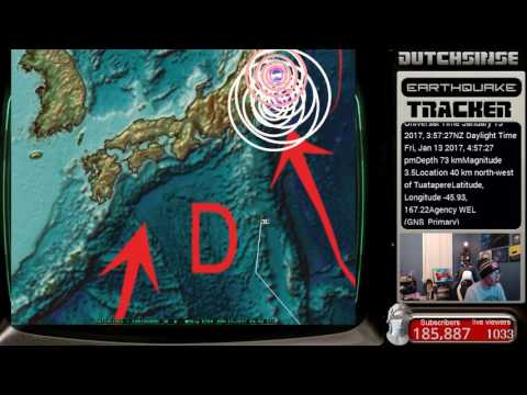 1/12/2017 -- Nightly Earthquake Update + Forecast -- Pacific unrest spreading WATCH ZONES ON ALERT
