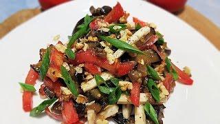 Салат из баклажанов, помидоров и сыра \ Салат с жареными баклажанами