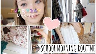 meine MORGENROUTINE für die Schule + Everyday Makeup Routine💜