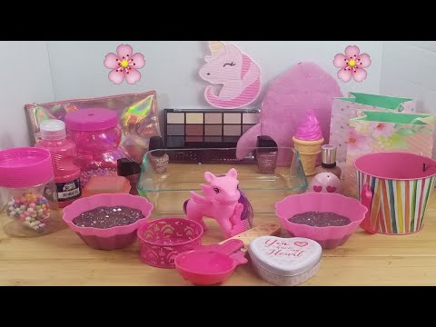 "Mixing""Pink Pony"" Eyeshadow and Makeup,parts,glitter Into Slime!Satisfying Slime Video!★ASMR★ #37"