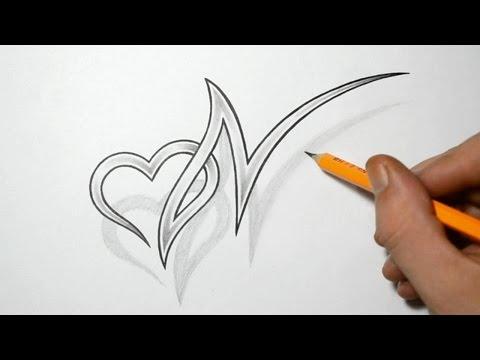 Letter N and Hea...U Letter Design Tattoo