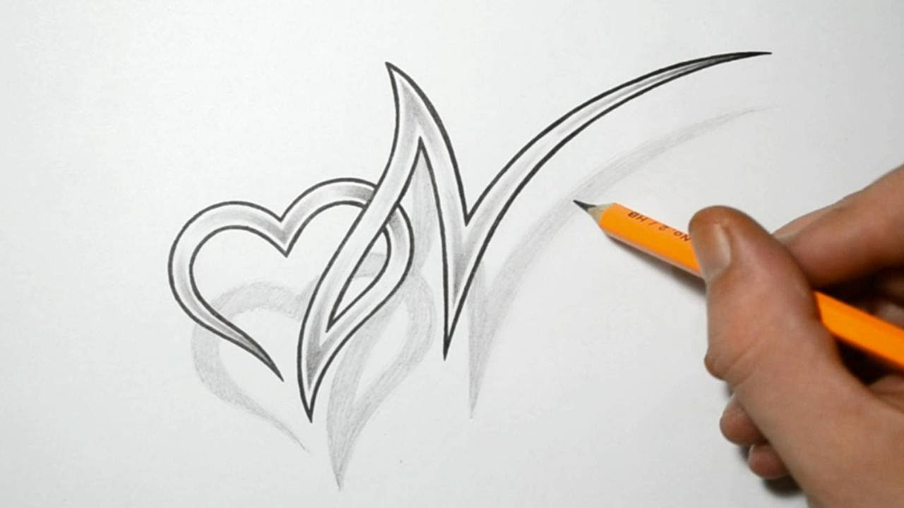 Letter N and Heart Combined - Tattoo Design Ideas for Initials