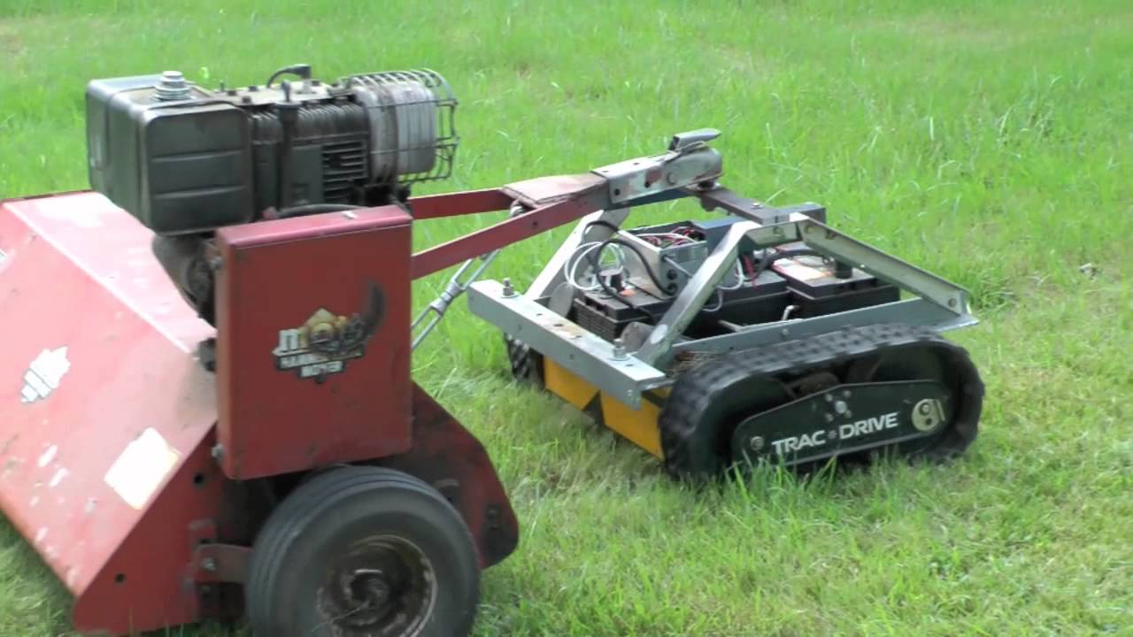 Track Robot with Pull Behind Flail Mower