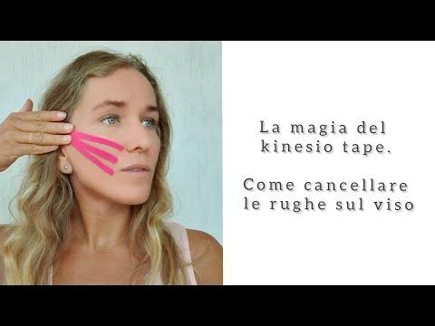 La magia del kinesio tape. come cancellare le rughe sul viso.