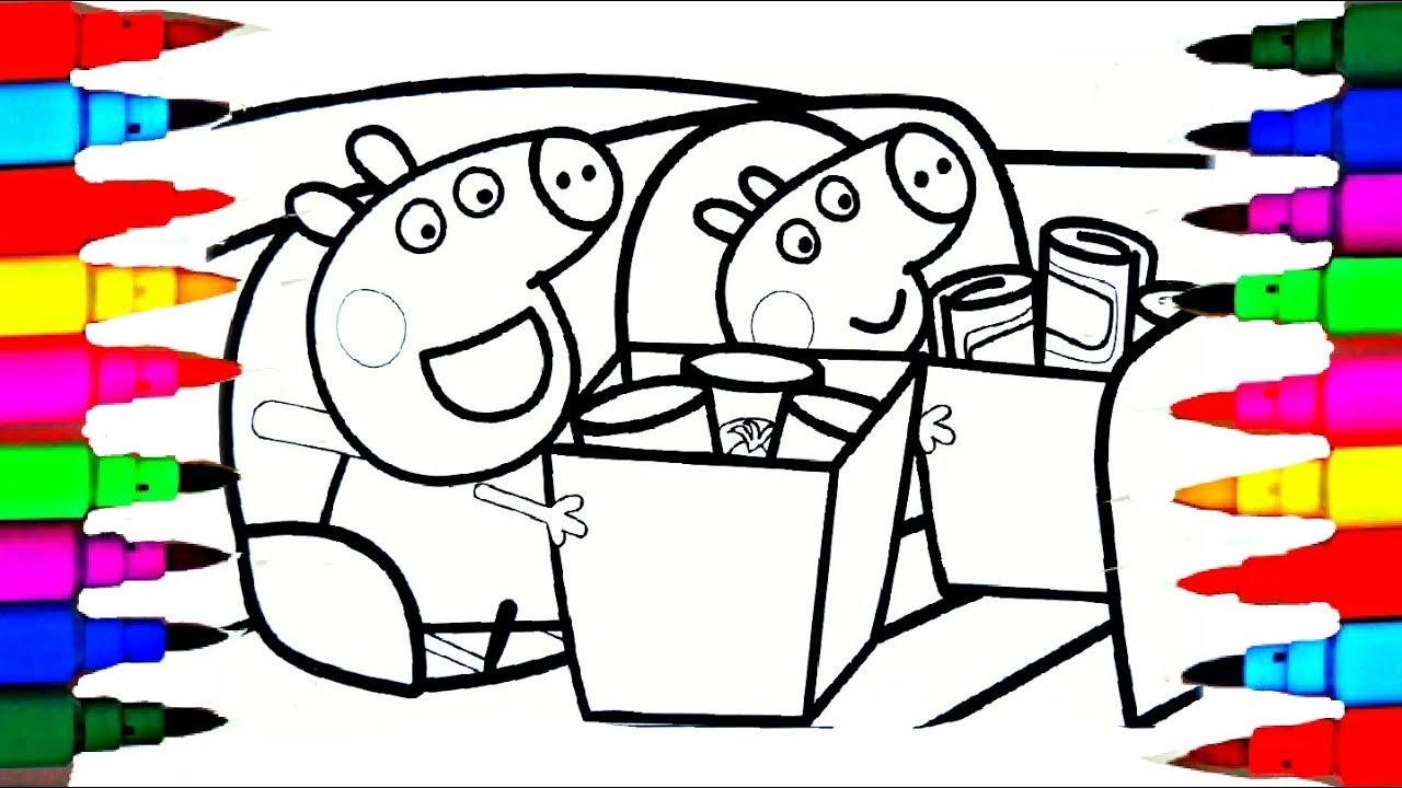 Peppa Pig Barbie Snow White and George Shopping Cart Coloring Pages ...