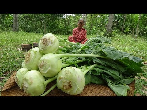 Village Vegetable Recipe ❤ Cooking Knol Khol Curry by Grandma