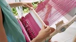Weaving on an Ashford Knitters loom in Thailand. Fran Caselli
