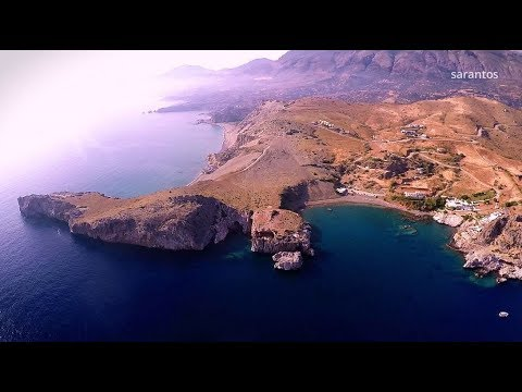 The Beach With The Imposing Sand Dunes Of Agios Pavlos Crete / Drone Video / Αμμόλοφοι Άγιος Παύλος