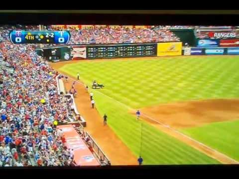 Huge Thunder Clap from Lightning Strike at Texas Rangers v Twins Game at Ballpark in Arlington