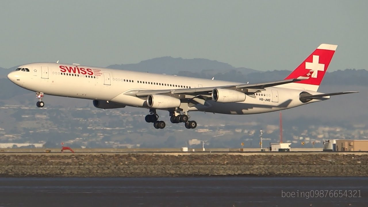 hd swiss international air lines a340 313 landing at san. Black Bedroom Furniture Sets. Home Design Ideas