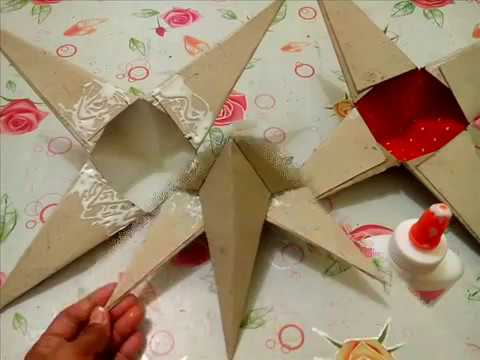 DIY# 26 3D STAR ORNAMENT / PAROL MADE OF RECYCLED CARTON BOX