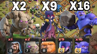Th12 War Attacks strategy | 2 Golem + 9 Witche + 16 Bowler = 3 Star | 3 Star War Attacks Strategy