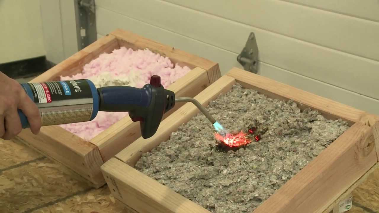 Fire testing insulation materials youtube for Blown in insulation vs batts