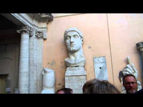 Constantine the Great's Giant Head from Statue in Palace Area Rome Italy Tour