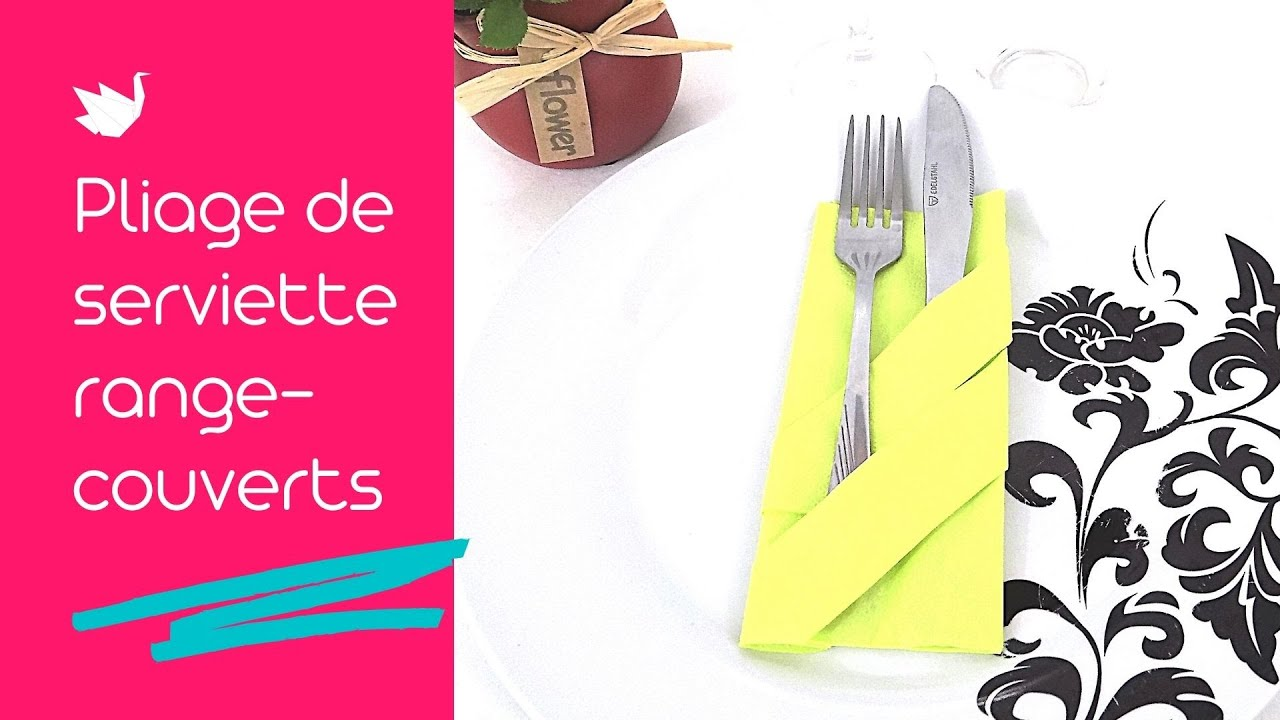 Pliage de serviette range couverts tutoriel facile youtube - Pliage serviette facile range couverts ...
