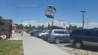 Portable Toilets Fly through the Sky at Park!