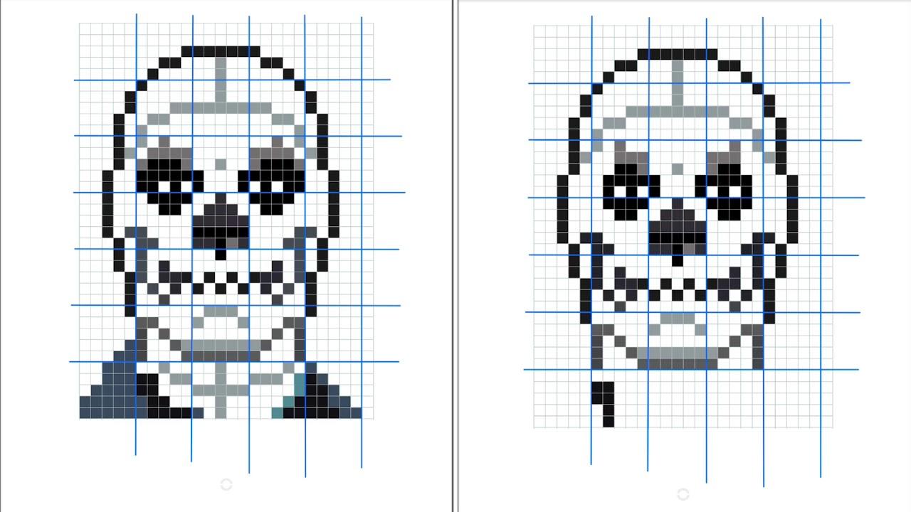 Cómo Dibujar Pixelado A Skull Trooper De Fortnite
