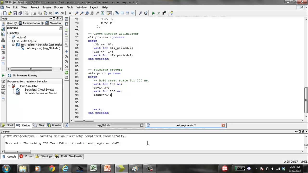 Elt3010 Xilinx Test Bench Example Youtube