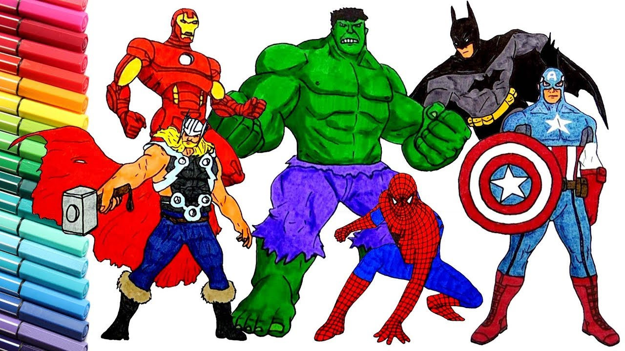 Draw And Color THE AVENGERS Superheroes Pages Iron Man Bat Captain America Hulk Spider