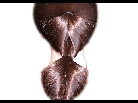 Причёска с помощью резинок ★ Очень быстрая причёска на средние волосы