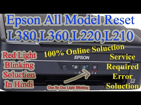 Epson Printer Head Cleaning L380 L360 L 3110 Service Required & Red Light  Error Solution