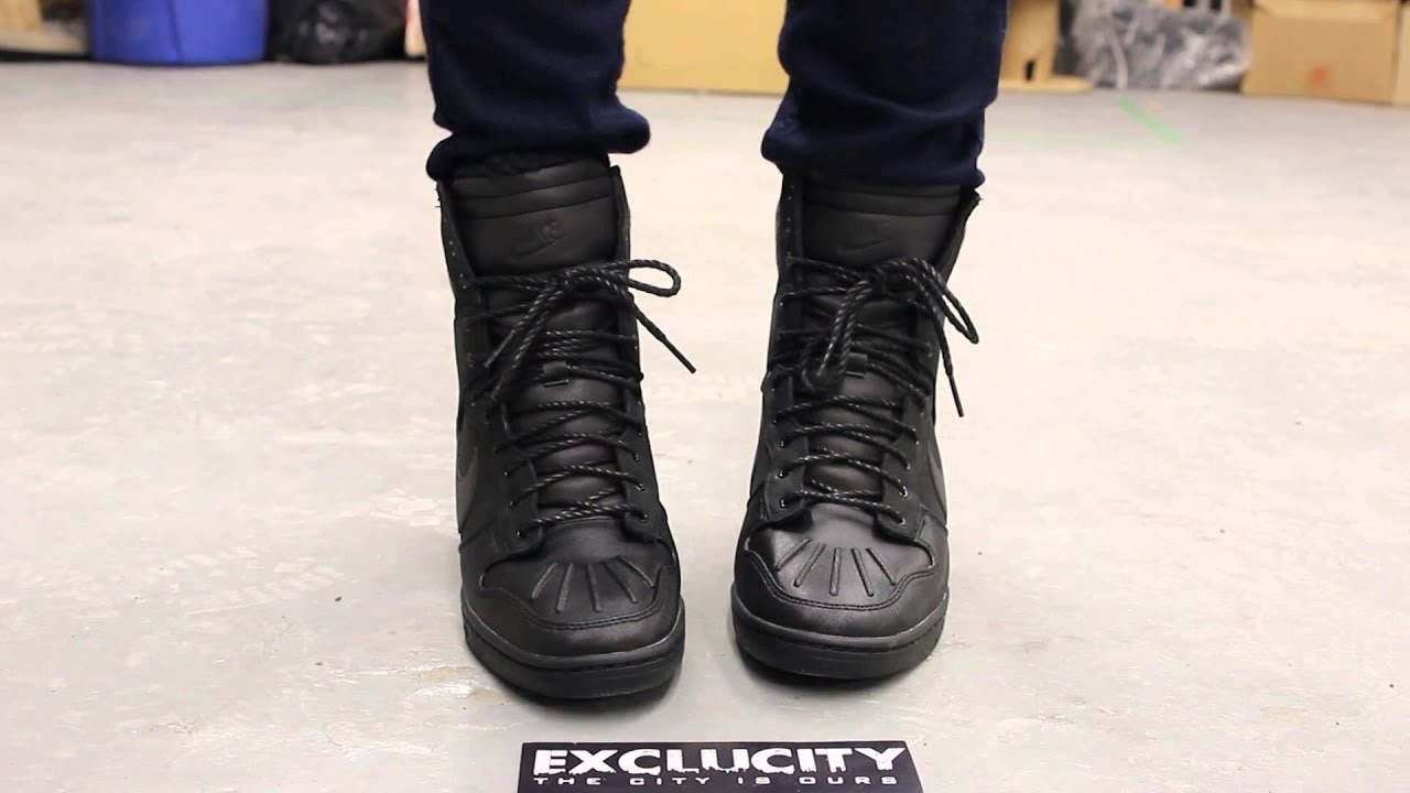 premium selection 9ba7a 9ebf1 Nike Dunk Sky Hi Sneakerboot - Black - Anthracite On-feet Video at Exclucity