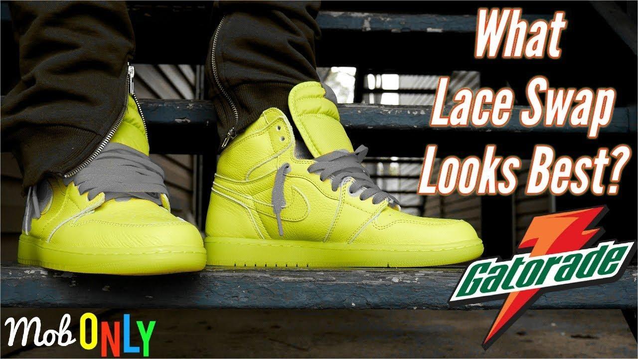 41f80d72bfef What Lace Swap looks BEST Air Jordan 1 High Gatorade Lemon - Lime On ...