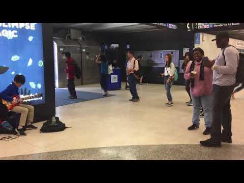Brandon Yan plays Purple Rain by Prince Powell Street  BART station Sep 2017 Gibson Les Paul guitar