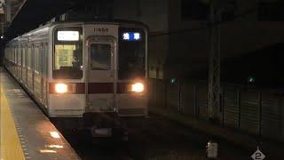 東武10050系11668編成+11259編成が到着するシーン