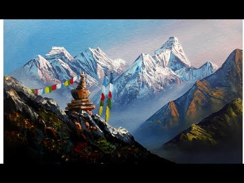 MOUNT EVEREST & AMA DABLAM | HOW TO PAINT? | BK ART Gallery