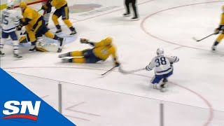 Rasmus Sandin Jumps On Loose Puck To Score First Career NHL Goal