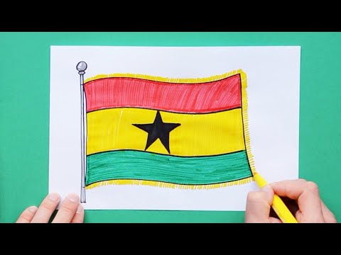 How to draw and color National Flag of Ghana