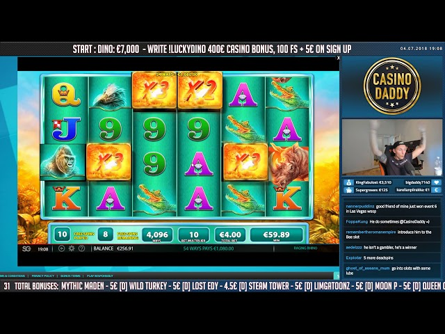BIG WIN!!! Raging Rhino HUGE WIN - Bonus round - free spins (Online slots)