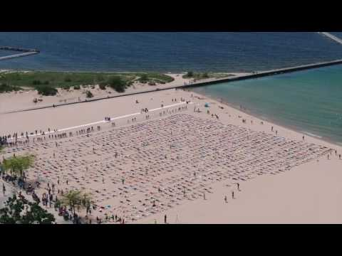 Drone footage shows sand angel Guinness World Record from above