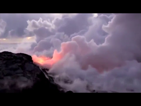 Lava Flowing Into the ocean- Hawaii Volcanoes National Park