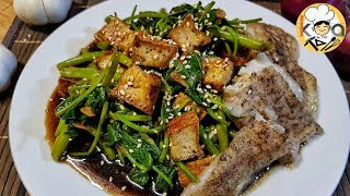 TOKWA AND KANGKONG IN CHINESE STYLE SAUCE WITH BAKED CREAM DORY EASY RECIPE